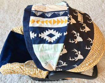 Arid Horizon and Twilight Stag Infant Car Seat Cover, Navy Deer Baby Car Seat Cover Set Including Strap Set, Baby Boy Infant CarSeat Covers