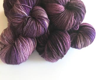 Amethyst Hand Dyed Cashmere Fingering Weight Yarn for Knitting and Crochet