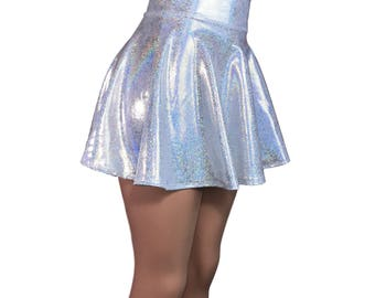 Holographic Silver High Waisted Skater Skirt - Clubwear, Rave Wear, Mini Circle Skirt