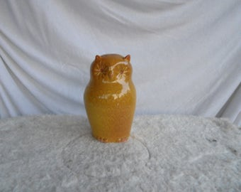 Yellow  owl, vintage owl figure, ceramic owl figurine, collectible bird figure, small owl statue, brown owl figurine, porcelain owl