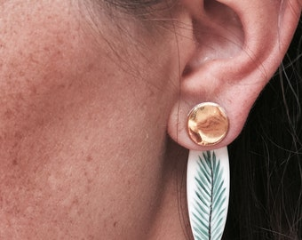 Asymmetrical earrings leaf porcelain