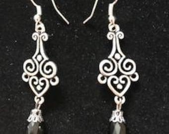 Silver and Black Tear Drop Bead Dangle Earrings