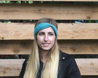 Blue and green crochet headband