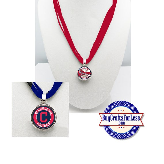 CLEVELAND Baseball PENDaNT, CHooSE Design and Ribbon Cord - Super CUTE!  +FREE SHiPPiNG & Discounts*