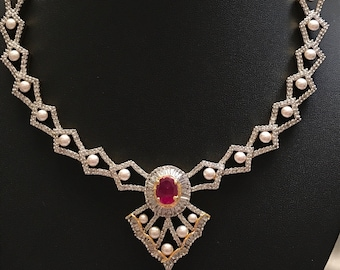 Ruby Kundan Necklace, Indian Wedding Jewelry, Statement Jewelry, India Statement Necklace,Hyderabadi Jewelry, Kundan Necklace, Bollywood