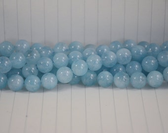 Aquamarine Beads --- Round --- 10mm --- 37 beads --- Full Strand --- Hole 1mm --- A quality