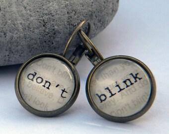 Doctor Who Earrings  - DON T BLINK  - Word Earrings  Weeping Angels - Doctor Who Jewelry