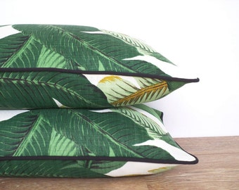 Green outdoor pillow cover swaying palm leaf print, tropical outdoor pillow case summer decor, botanical throw pillow indoor outdoor use,
