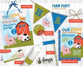Farm Birthday party invite decor Boy girl barnyard invitation digital download custom Diy barn Pig Cow Rooster red blue green
