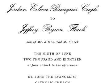 Formal Printable Wedding Invitation