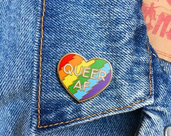 Queer AF pin, Hard Enamel Pin, Jewelry, Art, Artist, Gift (PIN94)
