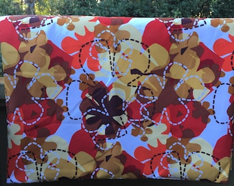 Mod Orange Floral Microfiber Fabric, 4 Yard Piece