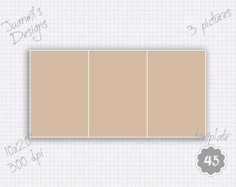 Photo collage template 44 10x20 inches (3 pictures)