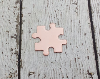 Copper Puzzle Piece Blank - 16 Gauge Copper Puzzle Blank - Interlocking Puzzle Piece