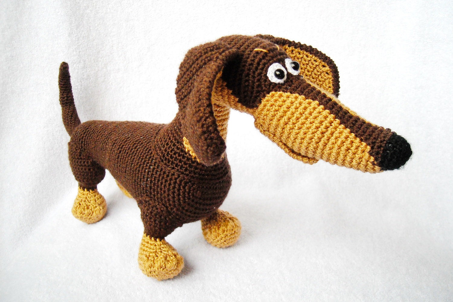 Amigurumi Wiener Dog Pattern : Crochet dachshund brown amigurumi dachshund stuffed animal dog