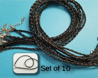 Set of 10, Black Leather Cord, Round Braided Leather, Jewelry Necklaces, Black Necklace, Black Cords, 17 inch, Adjustable Necklace, #242B