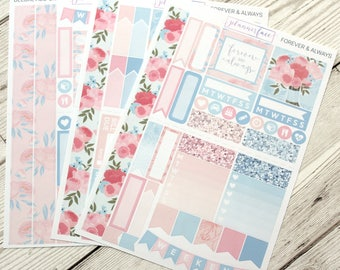 Forever & Always | Mini Planner Sticker Kit, Personal Kit, Travellers Notebook Stickers, Wedding, Marriage, Love, Roses, Diamonds, Celebrate