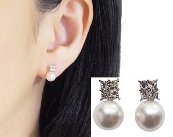 Bridal White Pearl Clip On Earrings, Wedding Rhinestone Clip On Stud Earrings, Non Pierced Earrings, Silver Clip Earrings, Crystal Clip-ons