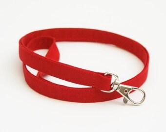 Solid Red Skinny Fabric Lanyard - Thin Lanyard with Swivel Clasp - 1/2 Inch Plain Key Lanyard - 19.5 Inch Drop - Strap - Teacher  - Mens
