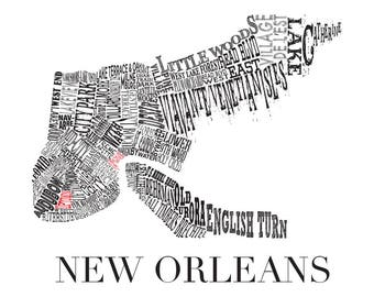 "Customizable-New Orleans Neighborhood Map 11 x 14"" Print"