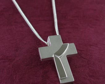 Deacon Stole Cross Necklace, Sterling Silver Deacon Pendant with Chain, Riveted Deacon's Stole on Cross, from our Spiritus Collection