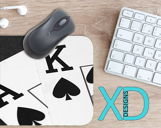 Spades Mouse Pad, Spades Mousepad, Cards Rectangle Mouse Pad, Black, White, Cards Circle Mouse Pad, Spades Mat, Computer, Poker, Ace, King