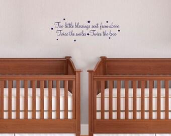 Nursery Vinyl Wall Art For Twins