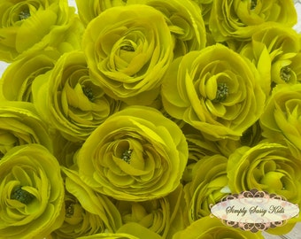 2 pcs Lime Green Silky Soft Ranunculus Artificial Flower Heads Color 3.5in DIY Bouquets Arrangements Hair Clips Wedding