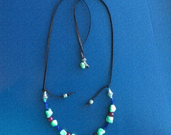 Adjustable Boho Bead and Leather Necklace