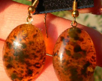 Amber Oval  Stone or Art DECO Glass Cabochon Earrings