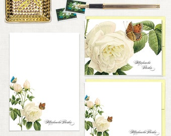 complete personalized stationery set - WHITE ROSE with BUTTERFLIES - note cards - notepad - customized stationary - floral - flowers