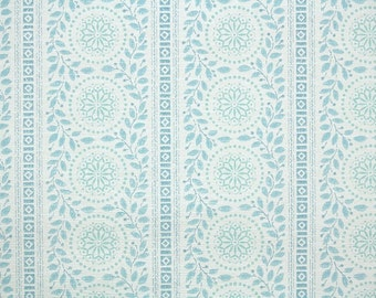 1950s Vintage Wallpaper by the Yard - Blue and White Victorian-Style Geometric and Botanical Stripe
