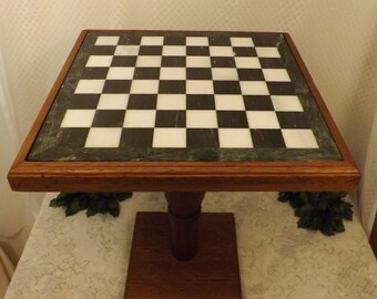 Vintage Green Marble Chess Board Checker Board with Oak Stand