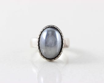 Sterling Silver Large Hematite Ring size 9 1/2