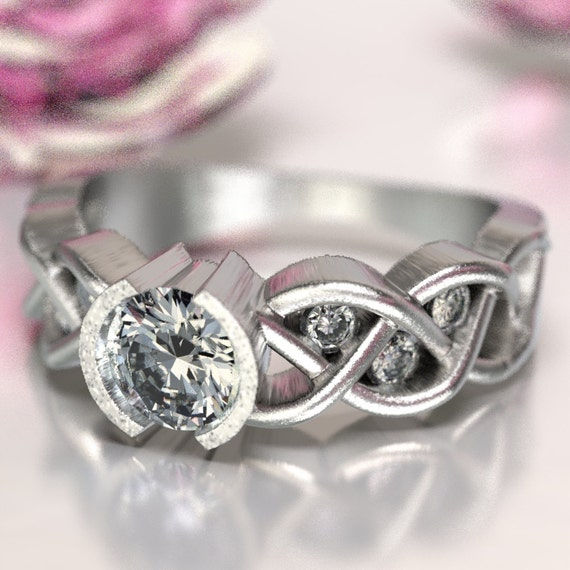 Celtic Moissanite Engagement Ring with Braided Knotwork Design in Sterling Silver, Made in Your Size CR-1006