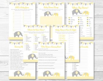 Cute Elephant Baby Shower Games Package / Elephant Baby Shower / Chevron Pattern / Yellow & Grey / 8 Printable Games INSTANT DOWNLOAD A205