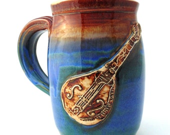 Mandolin  Handmade Pottery Mug  Blue   pottery and ceramics   Jewel Pottery