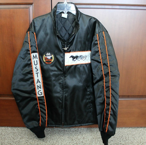 Vintage Mustang Indy 500 Pace Car Jacket 1979, Car Race Racing Lined Coat with Patches