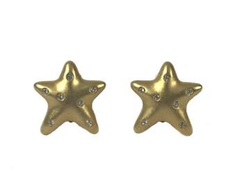 vintage gold star earrings / rhinestone earrings / matte gold / clip-on earrings / costume jewelry / vintage jewelry / vintage earrings