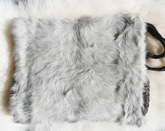 Vintage Hand Muff clutch / Fur Hand Muff Clutch / Winter accessory / Fur Clutch / 10x12