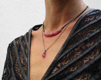 Pink sapphire briolette necklace, wire wrapped gemstone necklace, black rhodium sterling silver necklace, minimalist jewelry elegant dainty
