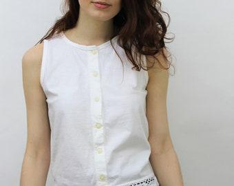 1990s White Buttoned Vest Top Size UK 10, US 6, EU 38