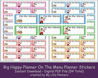 On The Menu Planner Stickers, Meal Planner Stickers, BIG Happy Planner Printable, Letter Size 8.5 x 11, PDF Digital Download