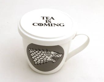Game of Thrones mug - tea mug -  tea is coming - gift for tea drinker - got fan art - stark direwolf - tea cup and saucer, mug with lid