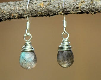 Silver Plated Wire Wrapped Faceted Labradorite Drop Earrings