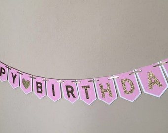Happy birthday girl banner, pink and gold