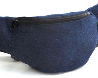 Fanny Pack  1 zipper  blue jeans ,bum bag,waist bag,belt bag,hip pouch,bags & purses festival bag , festival bag ,camping bag