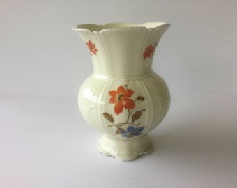Vtg 40-50's, Antiquity, Bavarian Cream Beauty, Vase 44, organge/blue flowers, Cream color vase, Kitchen Dining, Bavarian Decor,