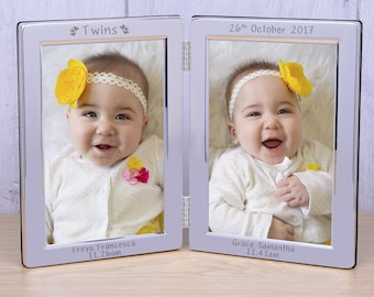 Personalised Silver Plated Double Frame For Twins Silver Frame Baby Frame Twin Newborn Gift idea