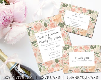 Blush Floral wedding invitation set, printable with matching rsvp and thank you cards, large watercolor floral framed simple and elegant